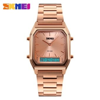 1220 SKMEI นาฬิกาผู้ชายแฟชั่นสบาย ๆ ควอตซ์นาฬิกาข้อมือดิจิตอลสองเวลากีฬานาฬิกาโครโนกราฟกลับแสง 30 เมตรกันน้ำนาฬิกา 1220 - นานาชาติ