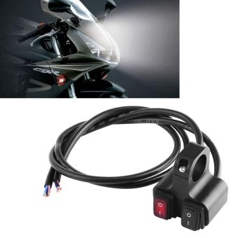 12V 16A CNC Aluminum Motorcycle Motorbike Handlebar HeadLight Spotlight On/Off Dual Switch - intl