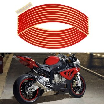 16 Pcs 12 inch Car Wheel Sticker Reflective Wheel Sticker RimStripe Tape Bike Motorcycle Car Styling Red Color - intl
