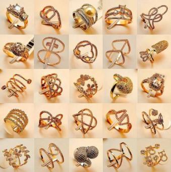 ทอง 18 K Shishang ใหม่ Micro Pave เพทายแหวน