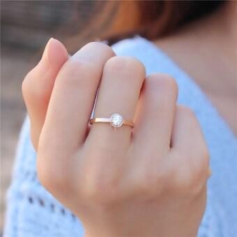 18k เกาหลีหญิงเหล็กไทเทเนียมกุหลาบทองหางแหวนเพชรเม็ดเดี่ยวแหวน