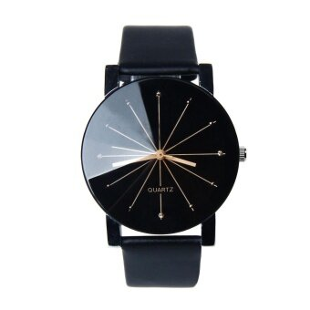 1PC Men Hot-Sale Quartz Dial Clock Leather Wrist Watch Round Case - intl