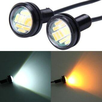 Harga 2 PCS 2W White + Yellow Light Car Auto Eagle Eyes Fog Light TurnLight With 12 SMD-4014 LED Lamps, DC 12V Cable Length: 55cm - intl