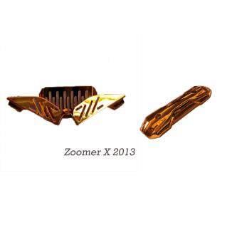 แผงเหล็กใต้เบาะ+ครอบท่อซูมเมอร์เอ็กซ์2013(Zoomer-X2013)อโนไดซ์ทองส้ม