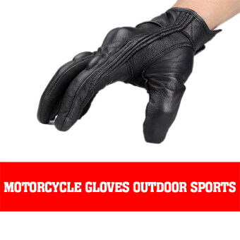 รถจักรยานยนต์คุณภาพดีถุงมือ 2559คนกีฬากลางแจ้งแบบไม่มีรูนิ้วถุงมือหนังสั้น XL (สีดำ)