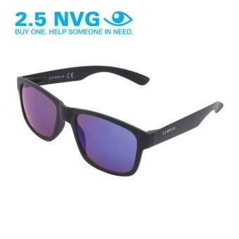 2.5 NVG แว่นกันแดดสำหรับผู้ชาย กรอบทรงสี่เหลี่ยมผืนผ้าสีดำ เลนส์ป้องกันรังสี UV400 สีม่วง SUN 104 0202
