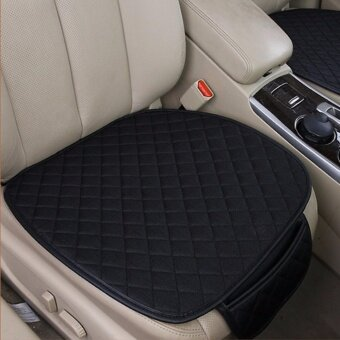 2pc Breathable Car Interior Seat Cover Cushion Pad Mat for Auto Supplies Office Chair with PU Leather Bamboo Charcoal (Black) - intl