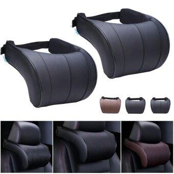 1PC Leather Seat Headrest Pad Auto Car Travel Relax Neck Rest Memory Foam Pillow - intl