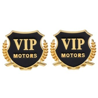 2pcs Car VIP Pattern Medal Shape 3D Carved Metal Sticker(Gold) -intl