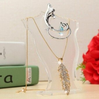 2PCS Plastic Earring Pendant Necklace Chain Jewelry Bust Neck Display Holder Stand Clear - intl