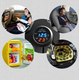 3 in1 Car LED Voltmeter Digital Thermometer Car Battery Monitor Car USB Charger - intl