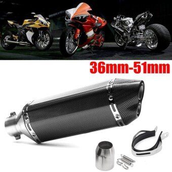 36mm-51mm Motorcycle Exhaust Carbon Stainless Steel Muffler Pipe Double Air Outlet Carbon - intl