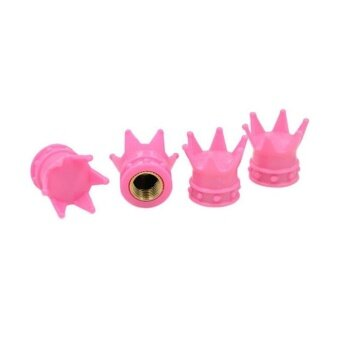 4 Pcs Tyres Accessories Car Truck Motocycle Bike Crown Shaped Tire Wheel Stem Air Valve Cap Pink - intl
