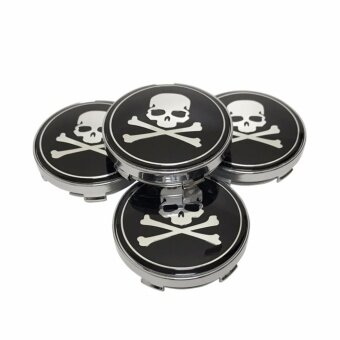 4pcs 60mm Car Styling Accessories Emblem Badge Sticker pirate Skull dust-proof Wheel Hub Caps wheel rim cover - intl
