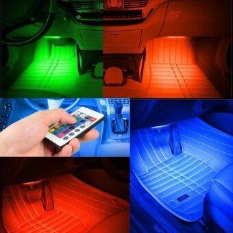 ซื้อ 4pcs Wireless Remote/Music/Car RGB LED Neon Interior Light LampStrip Decorative Lights - intl