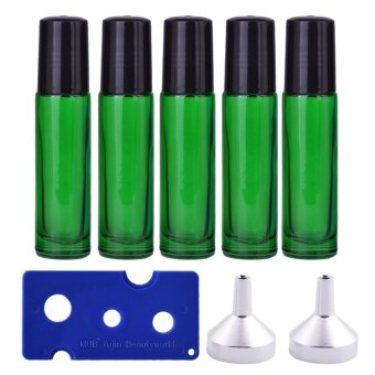 5 PCS 10ml Travel Portable Empty Refillable Roll On Glass Bottles\nVial + 2 PCS Transfer Funnel + 1 PCS Bottle Opener Set for\nFragrance Aromatherapy Essential Oil Perfume Cosmetics Green - intl