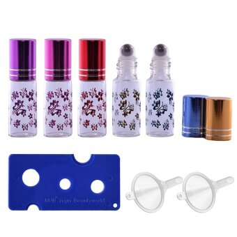 5 PCS 5ml Portable Empty Refillable Roll On Roller Ball Butterfly\nGlass Bottles Vial + 2 PCS Transfer Funnel + 1 PCS Bottle Opener\nSet for Fragrance Aromatherapy Essential Oil Perfume - intl