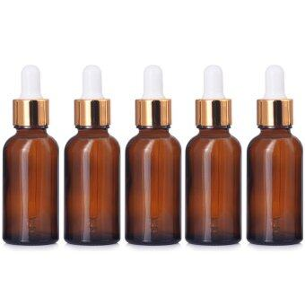 Harga 5 PCS Portable Travel 1oz/30ml Dark Brown Empty Refillable GlassBottles Essential Oil Perfume Liquid Lotion Containers Bottles withGolden Head Droppers - intl