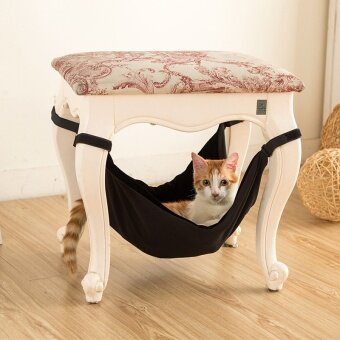 50 * 48cm Pet Supplies Canvas Cat Hammock High-end BreathableDouble-sided Hanging Chair Bench Cat Nest Mat - intl