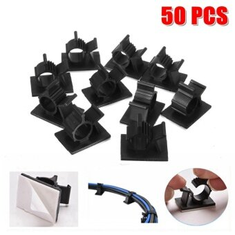 50Pcs Cable Cord Adhesive Fasteners Clips Organizer Clamp Mounting Range Wireless - intl