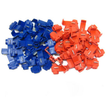 50Pcs Red Blue Snap On Connector Crimp Wire Splicer Terminal LockSplice Cable - intl