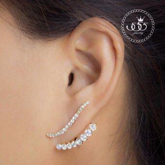 555jewelry ต่างหูสตั๊ดแฟชั่น 2in1 ประดับ CZ(สวมใส่ได้2แบบ) รุ่น MNC-BER019-B - Double-Sided stud earrings (BER9)
