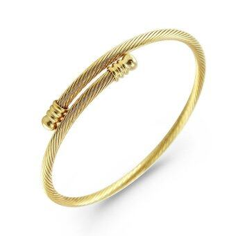 Harga 555jewelry 316L Bangle กำไล รุ่น MNC-BG222-B (Yellow gold)