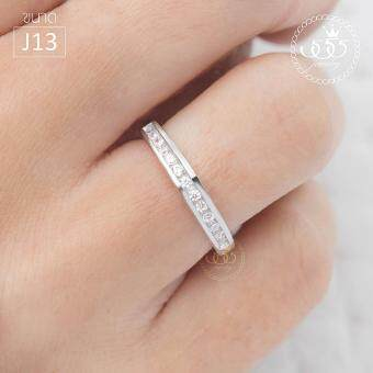 555jewelry แหวนเงินแท้ Silver 925 ดีไซน์แหวนแถวฝังล็อค เพชรสวิสรุ่น MD-SLR024 (SLR-B1) ขนาด J13
