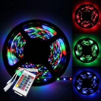 5M 3528 RGB Non Waterproof Strip 300 SMD LED Light Strip + 24Key IRRemote Controller - intl