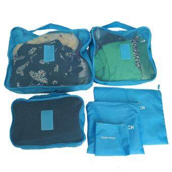 6Pcs/set Waterproof Travel Storage Bags Clothes Packing Cube Luggage Organizer Pouch (Light Blue) - intl