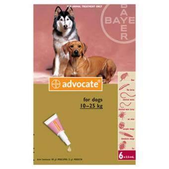 Advocate สำหรับสุนัขน้ำหนัก 10-25 กิโลกรัม exp.10.2018