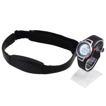 Allwinช่วยกันน้ำนิยมใช้ตัววัดอัตราการเต้นของหัวใจไร้สายรัดอกนาฬิกาสปอร์ตสีดำ