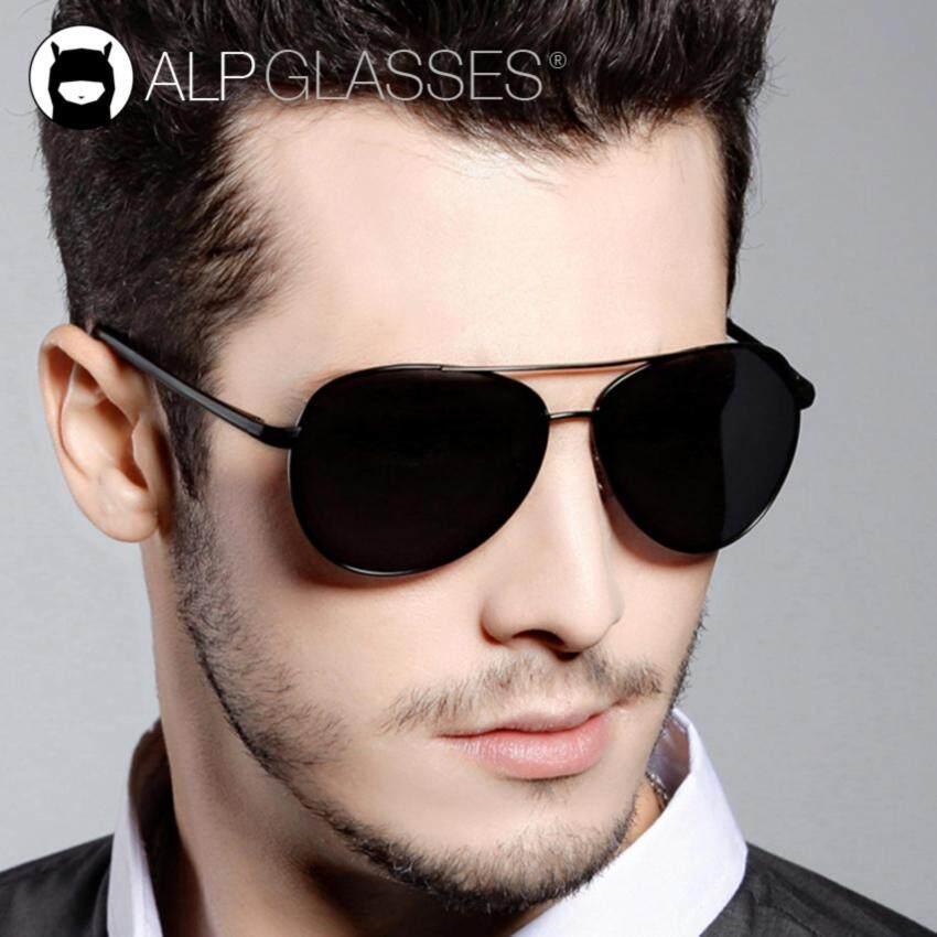 ALP Polarized Sunglasses แว่นกันแดด Aviator Style รุ่น ALP-0033-BKT-BKP (Black/Black)