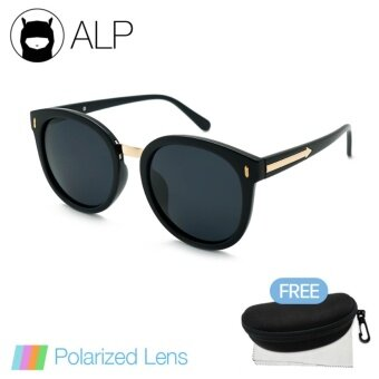 ALP Polarized Sunglasses แว่นกันแดด Round Oversized Style รุ่น ALP-0057-BKS-BKP (Black/Black)