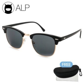 ALP Sunglasses แว่นกันแดด Clubmaster Style รุ่น ALP-0024-BKS-BK (Black/Black)