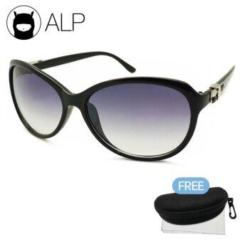 ALP Sunglasses แว่นกันแดด Oval Style รุ่น ALP-0071-BKS-BKG (Black/Black)