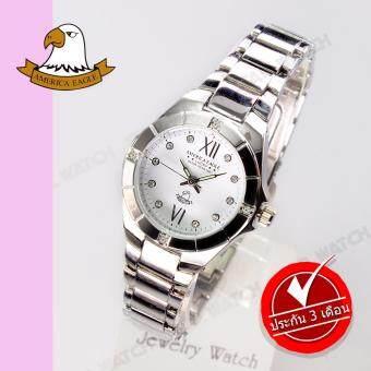 AMERICA EAGLE นาฬิกาข้อมือผู้หญิง สายสแตนเลส รุ่น AE012L - Silver/white