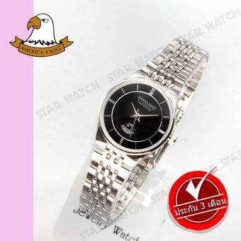 AMERICA EAGLE นาฬิกาข้อมือผู้หญิง สายสแตนเลส รุ่น AE052L - Silver/ฺBlack