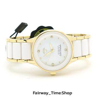 America Eagle นาฬิกาข้อมือแฟชั่นผู้หญิงตัวเรือนและสายตัดขอบ Gold หน้าปัดสีขาวพร้อมหลักบอกเวลารูปแบบเพชร