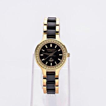 America Eagle นาฬิกาข้อมือผู้หญิงเซรามิกดำหน้าดำรุ่นLUCKY AE038L