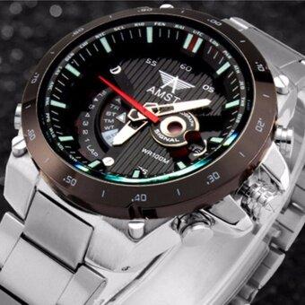 ราคา AMST นาฬิกาข้อมือผู้ชาย ระบบกลไกควอตซ์ กันน้ำ สายสแตนเลส หน้าปัดสีดำ