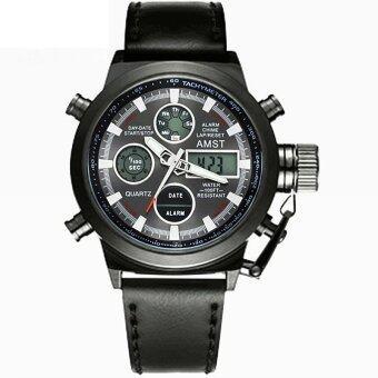 2561 AMST นาฬิกาข้อมือผู้ชาย Army Sport 2 ระบบ ดิจิตอล LED สายหนัง (สีดำ)