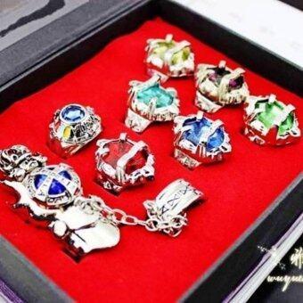 Anime 8pcs private teacher Katekyo Hitman Reborn Sawada Tsunayoshi Cosplay Vongola crystal Ring Set - intl