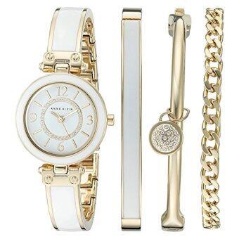 รีวิวพันทิป Anne Klein Women's AK/2016WTST Swarovski Crystal Accented Gold-Toneand White Bangle Watch and Bracelet Set (Intl)