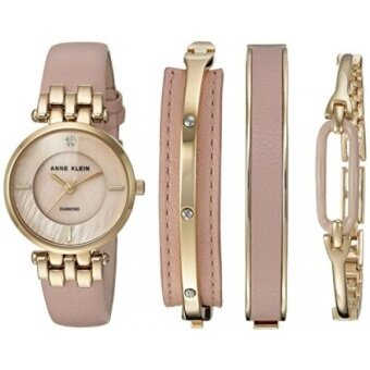 Anne Klein Womens AK/2684LPST Diamond-Accented Gold-Tone and Pink Leather Strap Watch and Bangle Set