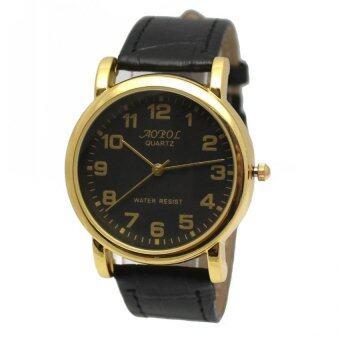 ซื้อ/ขาย AOPOL นาฬิกาข้อมือผู้ชายหน้าปัดกลมสีดำขอบทอง สายหนังสีดำ