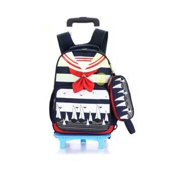 AOYI Children Girls Boys School Backpack Wheel Trolley LuggageTravel Bag Kids Sailor Col ...