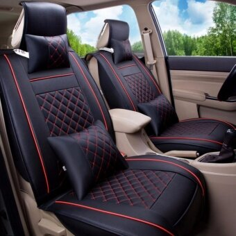Seat CoversPU Leather Front Rear Full Set All Seasons - Fit Most CarTruckVanBlack and Red Size L - intl