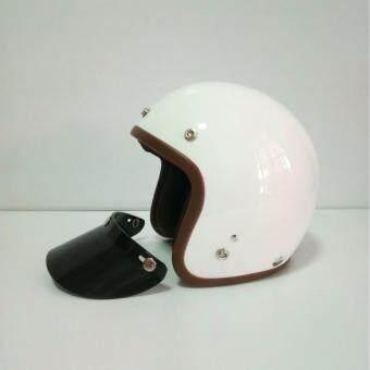 AVEX หมวกกันน็อควินเทจคลาสสิค รุ่น LB สีขาวเงา คิ้วนำ้ตาล ผ้านำ้ตาล