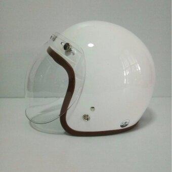 AVEX หมวกกันน็อควินเทจ รุ่น LB สีขาวเงา คิ้วนำ้ตาล ผ้านำ้ตาลพร้อมแว่นbubble สีใส